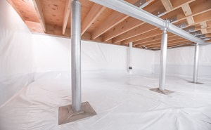 Crawl space structural support jacks installed in Fair Lawn