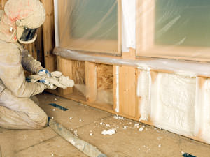 Insulation being applied to a Spring Valley home